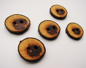 "20mm wooden branch buttons - 3/4"" diameter - 2 holes 2.5mm - hand made"