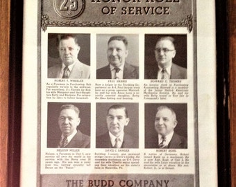 Vintage The Budd Company 25 Honor Roll of Service Black & White Print Certificate Picture Wall Art Ephemera Photo Car Company Philadelphia