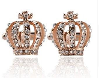 Crown Cufflink - Rose Color-k231