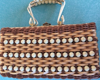 Vintage brown wicker cream beaded box purse