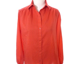 Vintage Red and White Polka Dot Blouse Button Down Shirt large 16 Top