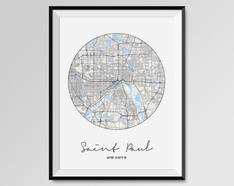 SAINT PAUL Map Print, Modern City Poster, Black and White Minimal Wall Art for the Home Decor