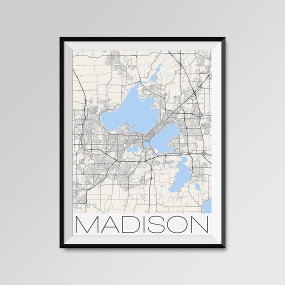 Madison City Maps Print Wisconsin City Poster Minimalist