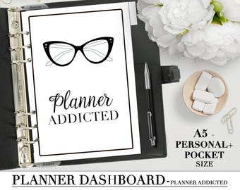 Printable DASHBOARD for your Pocket, Personal and A5 Planner_Planner addicted_Planner Divider quote_Printable divider_Filofax