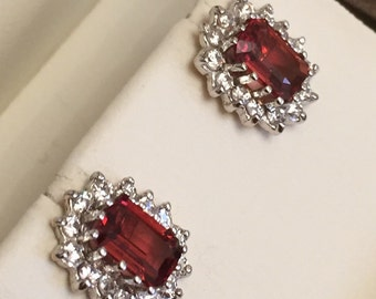 9ct gold Garnet and CZ earrings