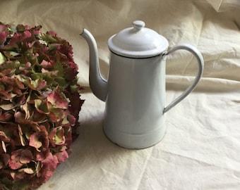 Vintage White Enamel Coffeepot