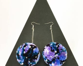 Galaxy pompom earrings, silver chain drop earrings, pompom jewellery, galaxy accessories, gifts for her, boho fashion, festival fashion
