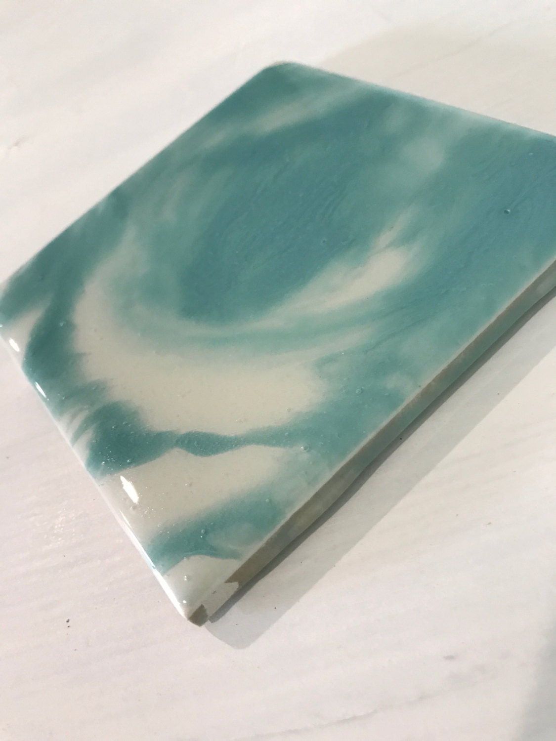 Coasters / Light Blue / Home Decor / Drink / Salvaged / Upcylced / Ceramic Tile / Eco-friendly / Charity / Set of 4