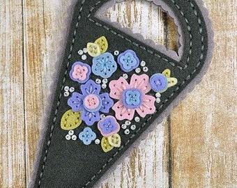 Scissors Case, Felt Scissors Case, Floral Scissors Keeper, Felt Scissors Holder