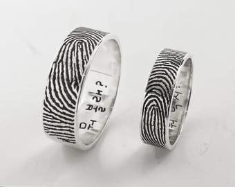 Personalized Fingerprint Rings- Actual Fingerprint and Handwriting Rings- Promise Rings - Couple Rings - Best Gift- Unique Gift for love