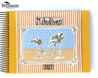 Photo-Album beach motif, Album holiday pictures, sticker-album, stripes yellow white, handmade travel photoalbum spiral bound, kultspecht,