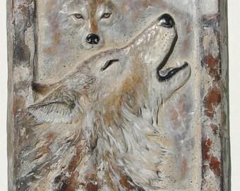 """Wolf Wall Art, """"Moonlight Serenade"""", Wolf Sculptural Relief,"""