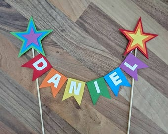 Rainbow Cake bunting, Rainbow Star cake topper, Baby shower, First birthday, Flag bunting, Cake banner, Multi coloured, personalised