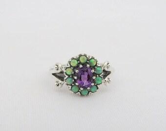 Vintage Sterling Silver Amethyst & Green Opal Cluster Ring Size 8