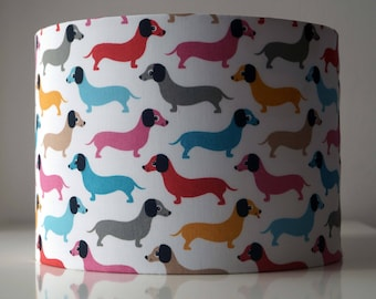 Cotton dogs drum lampshade.