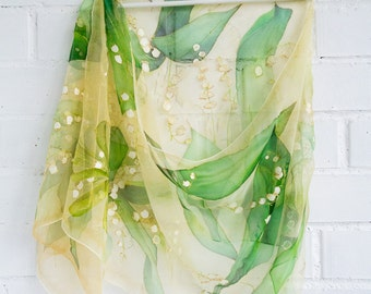 Lily of the valley scarf Silk Chiffon hand painted scarf Green Champagne beige gold amber shawl Spring floral silk scarf May Mother day gift