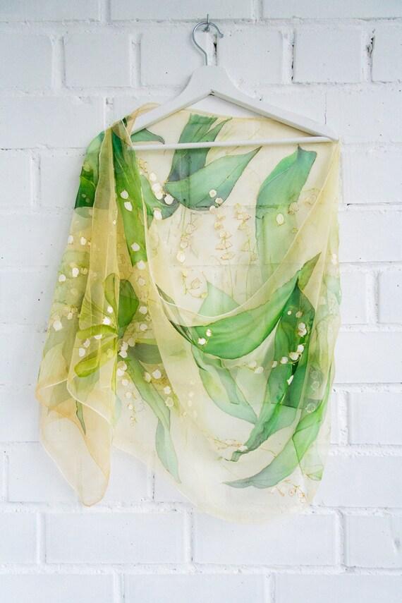 Silk Shawls Champagne Green