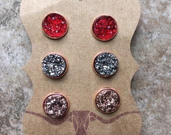 12mm rose gold druzy earrings, druzy studs, druzy earrings, rose gold druzy, rose gold earrings