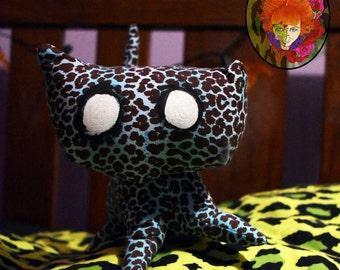 BLUE kitty leopard print