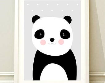 Nursery Wall Art Print, Kids Art Print, Animal Nursery Print, Printable Nursery Poster, Panda poster, Kids room,Instant download