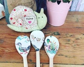 shabby chic cath kidston theme ducks wooden spoon set