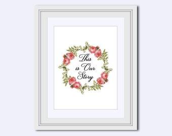 This is Our Story - pink roses - printable art - Wedding printable - instant download - DIY printable - wedding art - wedding sign - pdf