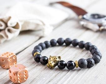 8mm - Black lava stone and faceted black onyx beaded gold Leopard head stretchy bracelet, mens bracelet, womens bracelet