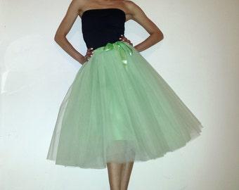 Tulle skirt petticoat pastel green 70 cm length skirt