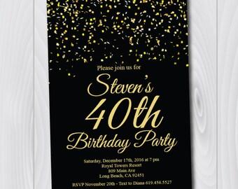 40th Birthday Invitation/Printable Gold & Black Birthday Invitation/e-card invitation/Template/Birthday Invitation/fortieth birthday