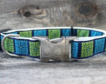 Savannah Squares Kiwi & Turquoise Dog Collar and Leash