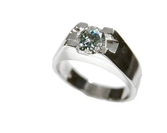 Men's Ring Silver 925 Solitaire Men's Jewelery Men's Jewelery 5.5mm Zirconia