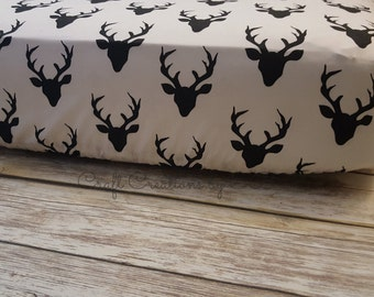 Crib Sheet- Fitted Crib Sheet- Woodland Crib Sheet- Deer Baby Bedding- Rustic Nursery- Woodland Bedding