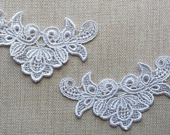 2 X White Lace trim Motif.
