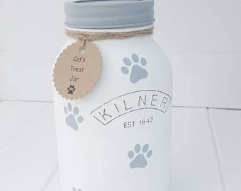 Dog, Cat, Pet Treat Jar. Paw Prints. Personalised. Range of colours available.