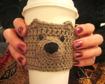 Brown Bear Cup Cozy, Cup Cosy, Mug Warmer, Coffee Cozy, Coffee Sleeve, Mug Cosy, Cute Gift, Gift Idea, Gift for Coffee Lover, Cup Holder