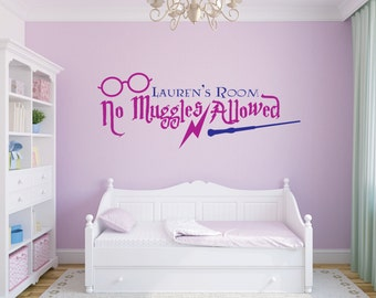 Harry Potter Wall Decal - No Muggles Allowed - Wall Graphic - Vinyl Wall Art Stickers - Wizard and Witch Bedroom Decor - Boy Girl