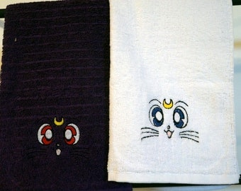 Sailor Moon Luna and Artemis Anime Cat Embroidered Hand Towel