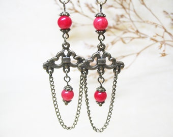 Red Coral Earrings Chandelier  Earrings Vintage Earrings Dangle Earrings Gemstone Earrings Romantic Earrings Boho Earrings Valentines Gifts