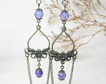 Charoite Earrings Chandelier Earrings Dangle Earrings Gemstone Earrings Vintage Earrings Boho Earrings Romantic Earrings Charoite Jewelry