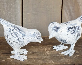 Solid Cast Iron Set of 2 Song Birds, shabby Chic Distressed Cream Finish