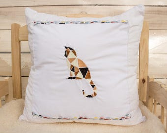 Geometric Cat Machine Embroidery Pillow Case Animals Nature Beautiful Handmade Item