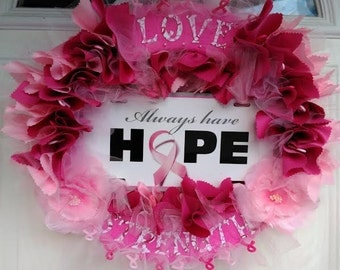 Breast Cancer Awareness Wreath - Pink Ribbon - Hope -