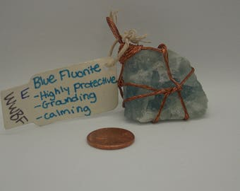 Large Blue Fluorite, Wire Wrapped, Reiki Infused pendant
