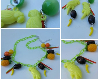 Parrot Paradise // Charm necklace & earrings set // Vintage Inspired