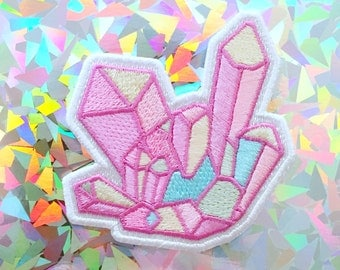 aura crystal iron-on patch + sticker by bitmapdreams