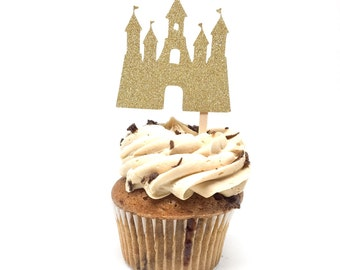 12 pcs Princess Castle Queen King Gold Silver Glitter Cupcake Topper Birthday Baby Bridal Shower Wedding