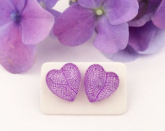 Natural jewelry, Purple heart earrings, Leaf vein jewelry, Gift for a girl, Resin studs, Romantic earrings, Gift for a bride