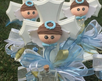 """Centerpiece for Christening or  """" Baptism"""" boy or girl Only with glass bottle."""