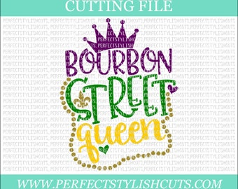 Bourbon Street Queen Svg - Mardi Gras SVG, DXF, PNG, Eps Files for Cameo or Cricut - Louisiana Svg, Fat Tuesday Svg, Beads Svg