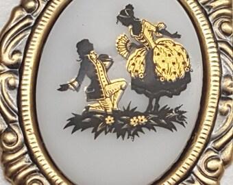 Victorian Couple Cameo Pendant Necklace
